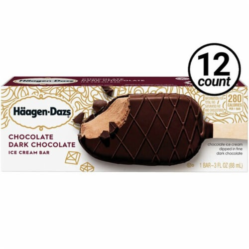Haagen Dazs, Chocolate and Dark Chocolate Bar (12 Count) Perspective: front