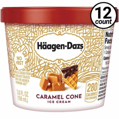Haagen Dazs, Caramel Cone Ice Cream, 3.6 oz. Cup (12 Count) Perspective: front