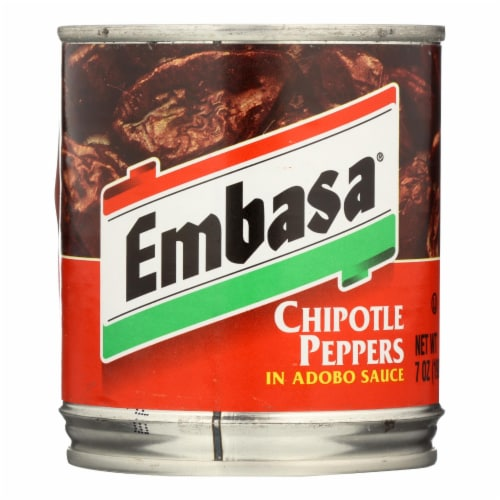 Embasa Adobo Sauce - Chipotle Peppers - Case of 12 - 7 oz. Perspective: front