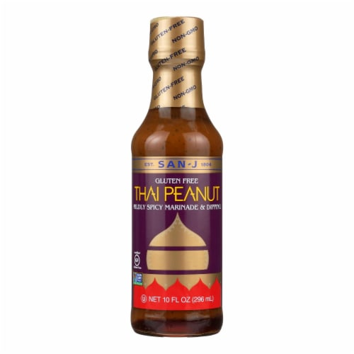 San - J Cooking Sauce - Thai Peanut - Case of 6 - 10 Fl oz. Perspective: front