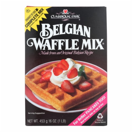 Classique Fare Belgian Waffle Mix - Case of 6 - 16 oz. Perspective: front