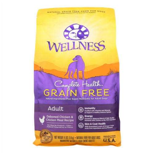 Wellness Pet Products Dog Food - Grain Free - Chicken Recipe - Case of 6 - 4 lb. Perspective: front