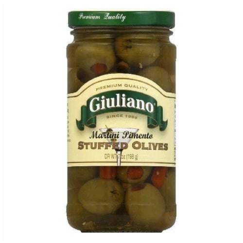 Giuliano Pimento Martini Stuffed Olives, 7 OZ (Pack of 6) Perspective: front