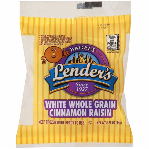 Lenders White Whole Grain Cinnamon Raisin Bagel, 2.25 Ounce -- 72 per case. Perspective: front