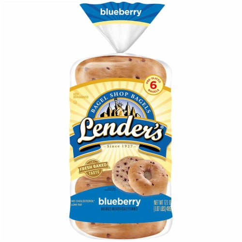 Pinnacle Foods Lenders Refrigerated Blueberry Bagel, 2.85 Ounce -- 12 per case. Perspective: front