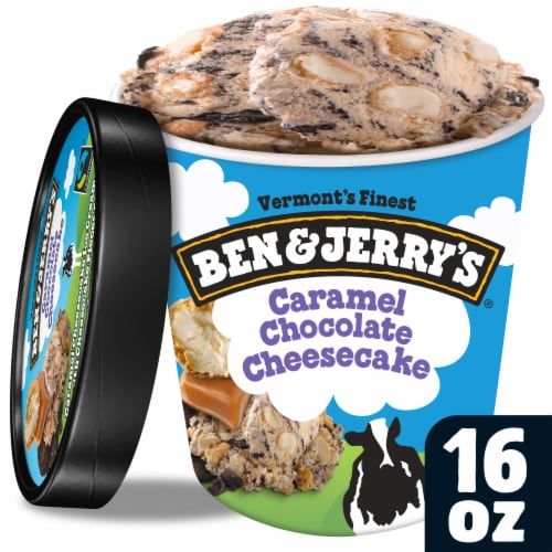 Ben & Jerry's Caramel Chocolate Cheesecake Truffles Ice Cream Pint Perspective: front