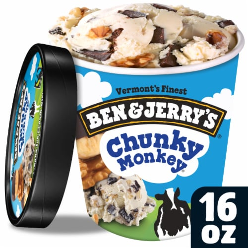 Ben & Jerry's, Chunky Monkey Ice Cream, Pint (8 Count) Perspective: front
