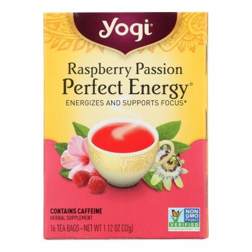 Yogi Perfect Energy Herbal Tea Raspberry Passion - 16 Tea Bags - Case of 6 Perspective: front