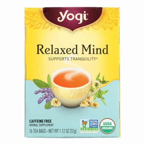 Yogi Relaxed Mind Herbal Tea Caffeine Free - 16 Tea Bags - Case of 6 Perspective: front