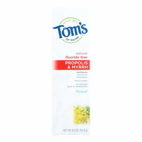 Tom's of Maine Propolis and Myrrh Toothpaste Fennel - 5.5 oz - Case of 6 Perspective: front