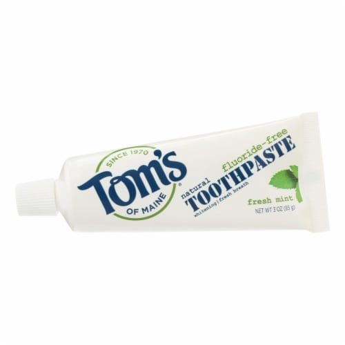 Tom's of Maine Travel Natural Toothpaste - Fresh Mint Fluoride-Free - Case of 24 - 3 oz. Perspective: front