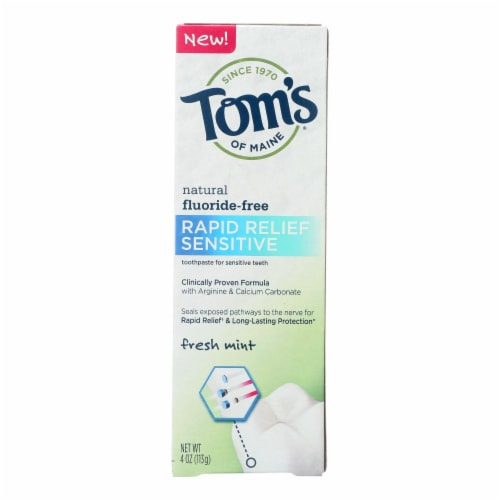 Tom's of Maine Rapid Relief Sensitive Toothpaste - Fresh Mint Fluoride-Free -Case of 6 - 4 oz Perspective: front