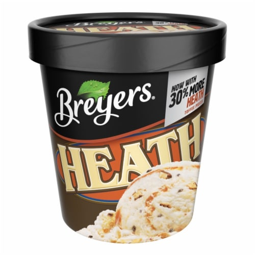 Breyers, Heath English Toffee Ice Cream, Pint (8 Count) Perspective: front