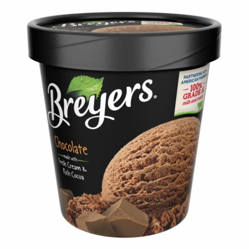 Breyers, Chocolate All Natural Ice Cream, Pint (8 Count) Perspective: front
