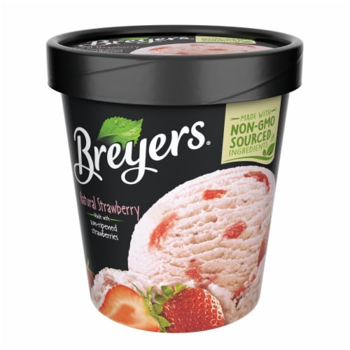 Breyers, Strawberry All Natural Ice Cream, Pint (8 Count) Perspective: front