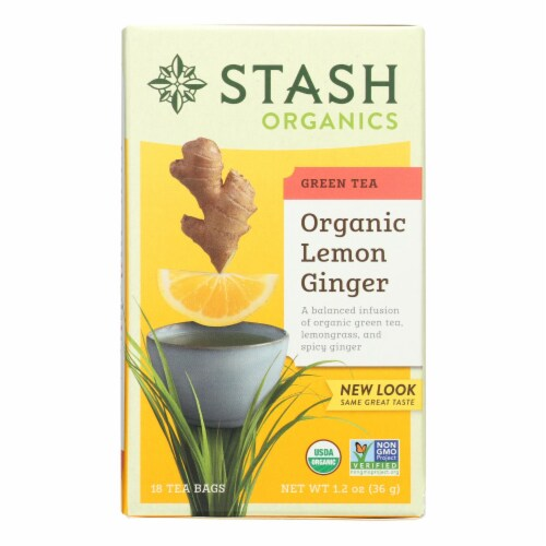 Stash Tea Organic Green Tea - Lemon Ginger? - Case of 6 - 18 Bags Perspective: front