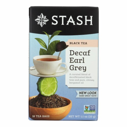 Stash Tea Black Tea - Earl Grey Decaf - Case of 6 - 18 Bags Perspective: front