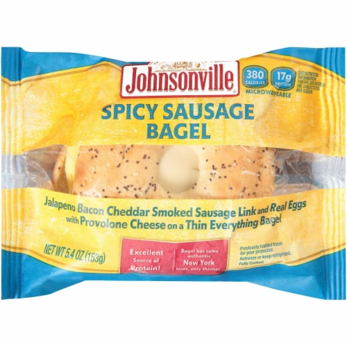 Johnsonville Jalapeno Split Sausage Egg and Cheese Everything Bagel, 5.4 Ounce -- 12  case. Perspective: front