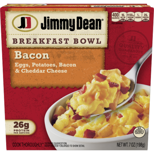 Jimmy Dean Bacon Egg Potato & Cheese Breakfast Bowl Frozen Meal Perspective: front