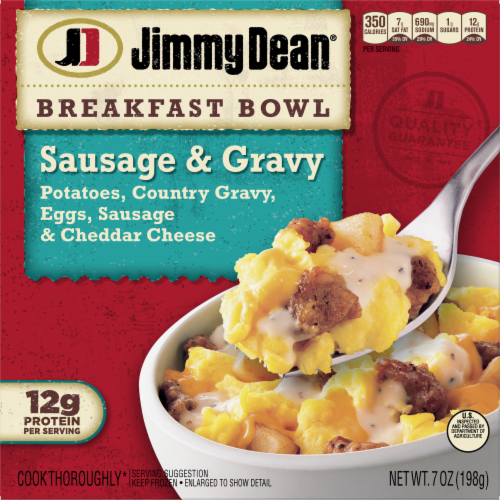 Jimmy Dean® Country Gravy Sausage Cheddar Potatoes & Egg Breakfast Bowl Frozen Entree Perspective: front
