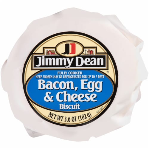 Jimmy Dean® Butcher Wrapped Bacon Egg & Cheese Biscuit Frozen Entree Case Perspective: front
