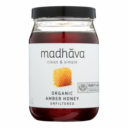 Madhava Honey Organic Pure and Raw Honey - Case of 6 - 22 oz. Perspective: front