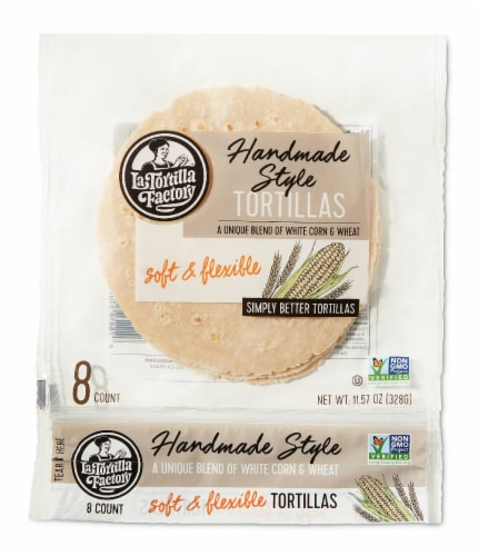 Handmade Style White Corn & Wheat Tortillas Perspective: front