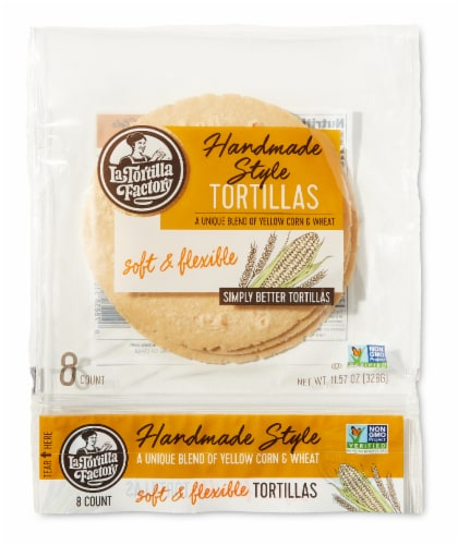 Handmade Style Yellow Corn & Wheat Tortillas Perspective: front