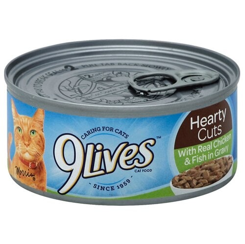 9Lives Hearty Cuts Chicken and Fish Wet Cat Food Case Perspective: front