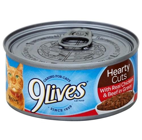 9Lives Beef Chicken in Gravy Wet Cat Food Case Perspective: front
