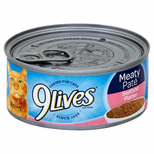 9Lives Meaty Pate Seafood Platter Wet Cat Food Perspective: front