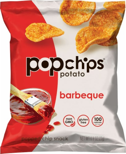 Popchips BBQ Popped Potato Chips, 0.8 Ounce -- 48 per case. Perspective: front