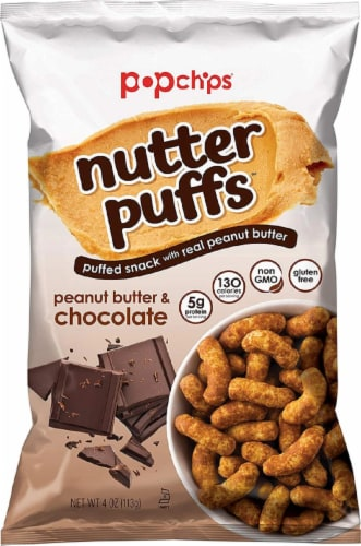 Popchips Nutter Puffs Peanut Butter & Chocolate, Gluten Free & Non GMO, 4oz (Pack of 12) Perspective: front