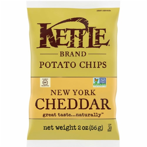 Kettle Brand Gourmet Potato Chips, New York Cheddar with Herb, 2.0 Oz. Bag (24 Count) Perspective: front