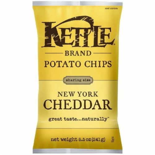 Kettle Brand New York Cheddar Potato Chips 8.5 Oz Bag (Pack of 12) Perspective: front