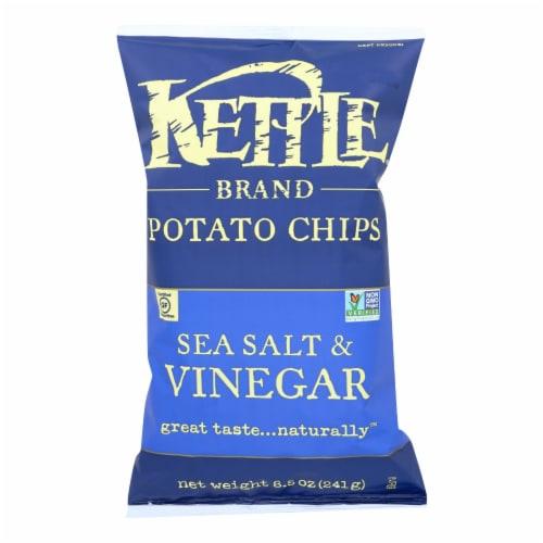 Kettle Brand Potato Chips - Sea Salt and Vinegar - Case of 12 - 8.5 oz. Perspective: front