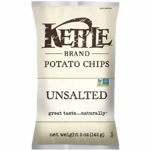 Kettle Brand Unsalted Potato Chips 5 Oz Bag (Pack of 15) Perspective: front