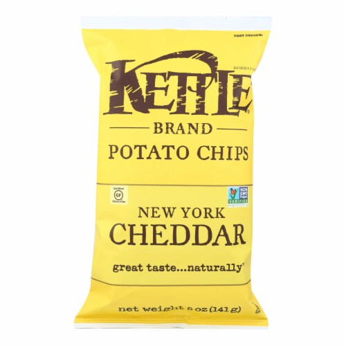 Kettle Brand Potato Chips - New York Cheddar - Case of 15 - 5 oz. Perspective: front