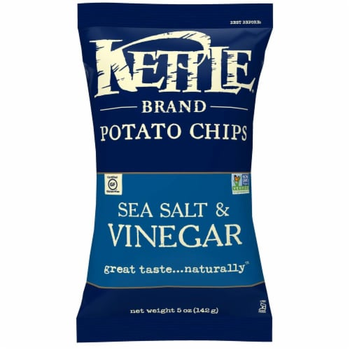 Kettle Sea Salt and Vinegar Potato Chips - 5 oz. bag, 15 per case Perspective: front
