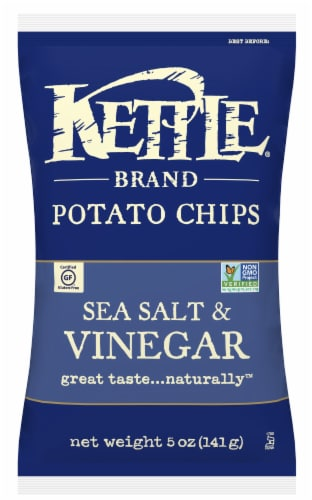 Kettle Foods Sea Salt and Vinegar Potato Chips, 5 Ounce -- 8 per case. Perspective: front