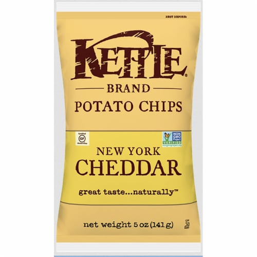 Kettle Foods New York Cheddar Potato Chips, 5 Ounce -- 8 per case. Perspective: front