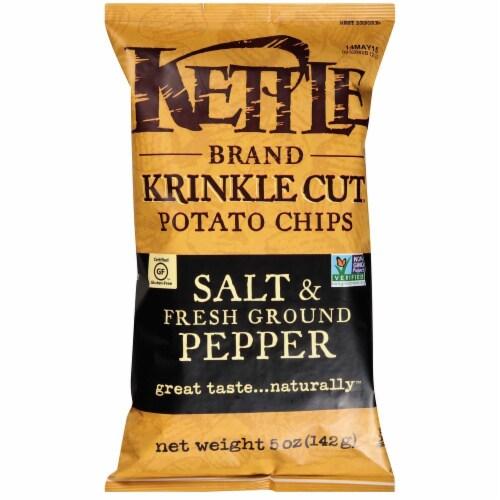Kettle Krinkle Cut Salt and Fresh Ground Pepper Potato Chips - 5 oz. bag, 15 per case Perspective: front