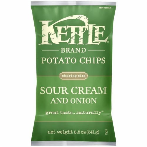 Kettle Brand Sour Cream & Onion Potato Chips 8.5 Oz Bag (Pack of 12) Perspective: front