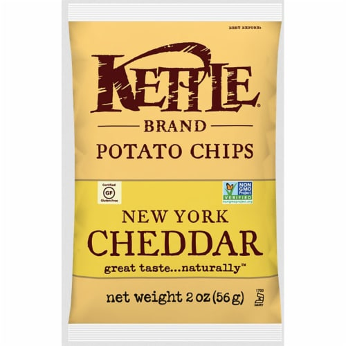 Kettle Foods New York Cheddar Potato Chips, 2 Ounce -- 6 per case. Perspective: front