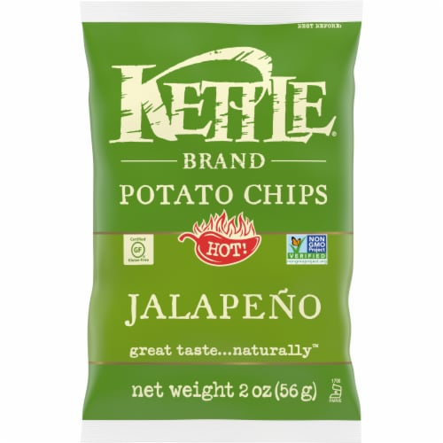 Kettle Brand Gourmet Potato Chips, Jalapeno, 2 Oz Bag (24 Count) Perspective: front
