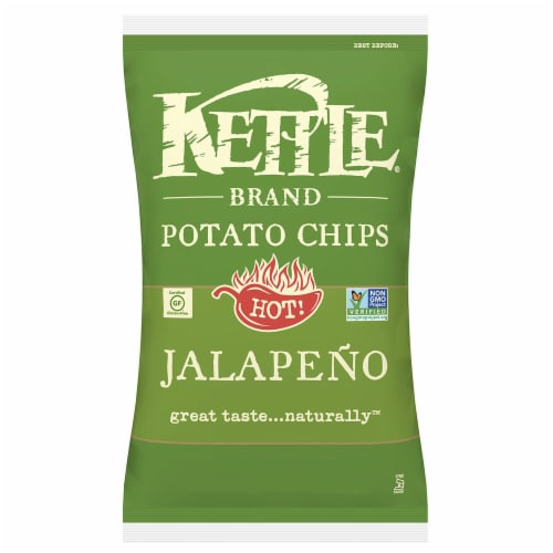 Kettle Foods Jalapeno Potato Chips, 5 Ounce -- 8 per case. Perspective: front
