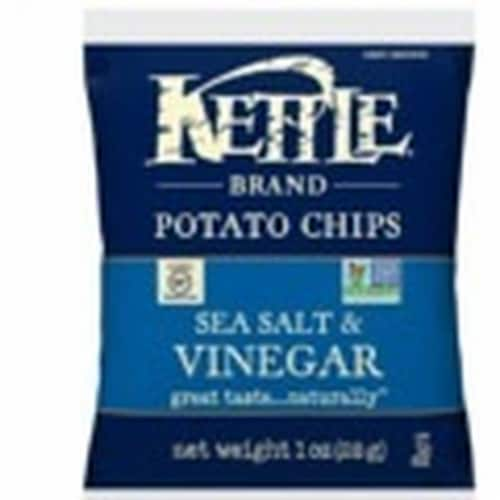 Kettle Foods Sea Salt and Vinegar Potato Chips, 1 Ounce -- 72 per case. Perspective: front
