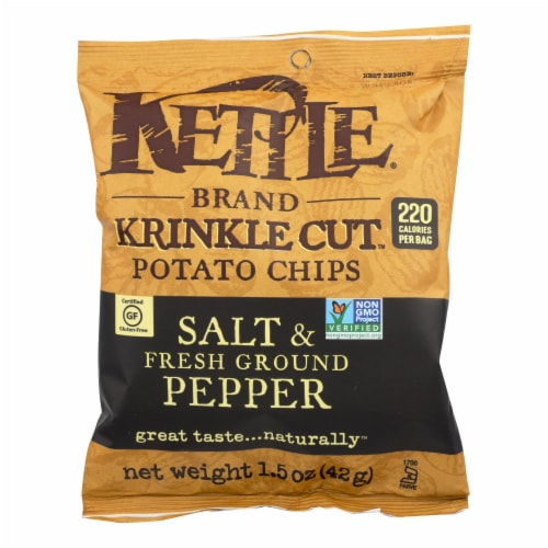 Kettle Brand Potato Chips - Sea Salt and Crushed Black Pepper - Case of 24 - 1.5 oz. Perspective: front