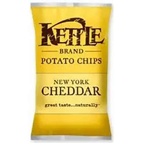 Kettle Foods New York Cheddar Potato Chips, 1.5 Ounce -- 24 per case. Perspective: front