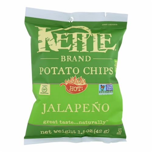 Kettle Brand Potato Chips - Jalapeno - Hot - 1.5 oz - case of 24 Perspective: front